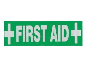 FIRST AID STICKER 28cm x 4cm. - Click to enlarge