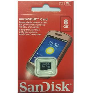 MEMORY CARD MICROSD 8G SANDISK - Click to enlarge